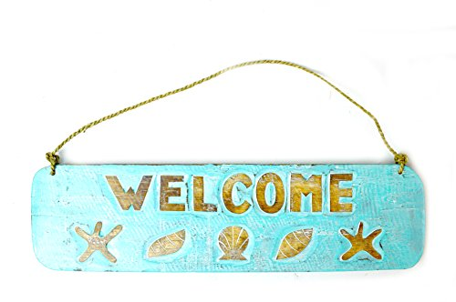 Hand Carved Wooden Welcome Beach Starfish Sea Shell Surfboard Sign