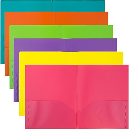 JAM Paper Plastic 2-Pocket Folders - Eco Friendly Folder - Assorted Fashion Colors - Pack of 6 Folders
