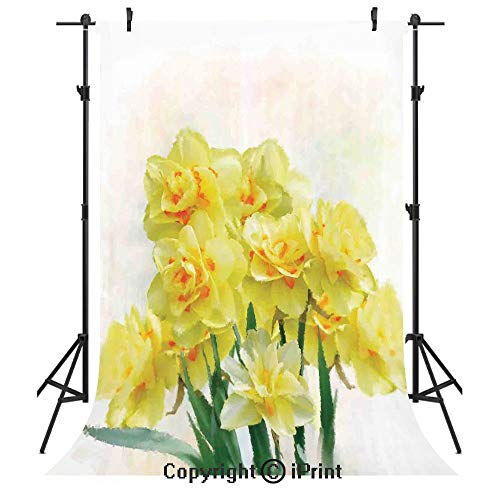 Daffodil Photography Backdrops,Digital Watercolors Paint of Daffodils Bouquet Called Jonquils in England Lily,Birthday Party Seamless Photo Studio Booth Background Banner 10x20ft,Yellow Green