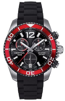 Certina DS Action - Reloj cronógrafo de caballero de cuarzo con correa de goma negra: Amazon.es: Relojes