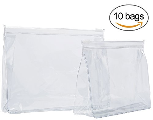 TRAVELWELL Clear PVC Zippered Luggage Carry Pouch Make-up Bags Travel Toiletry Bag Water-proof Organizer for Men and Women 10-PACK (7
