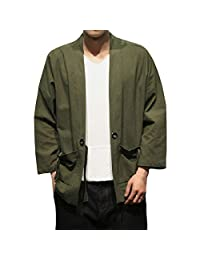 Hzcx Fashion Men's Cotton Blends Linen Open Front Cardigan Kimono Jackets