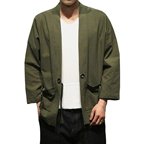 Hzcx Fashion Men's Cotton Blends Linen Open Front Cardigan Kimono Jackets QT4018-M707-60-GR-US S(34) TAG M