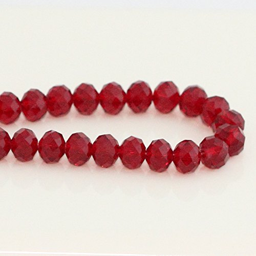 1 Strand Top Quality Czech Rondelle Crystal Glass Beads 8mm Siam Red #5040 Alternatives for Swarovski Preciosa Bead (~70-72pcs beads) CCR805 - Faceted Crystal Bead Necklace