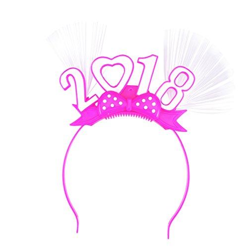 [BESTOYARD New Year Headband 2018 Headband Hairband Boppers Headwear Flashing Headband Dress Costumes Accessory (Random Color)] (Happy New Year Boppers)