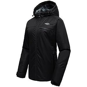 Wantdo Women's Hooded Mountain Ski Jacket Outdoor Fleece Windproof Rain Jacket Black US S