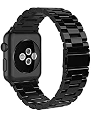 Simpeak Band Compatible with iWatch 38mm 40mm, Stainless Steel Wirstband Strap Replacement for iWatch Series 5 4 3 2 1, Black,Silver,Rose Gold,Bright Black,Silver/Black,Rose Gold