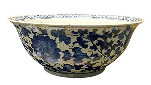 Sadek Leaves (Large Blue and White Porcelain Floral with Leaves 15.5