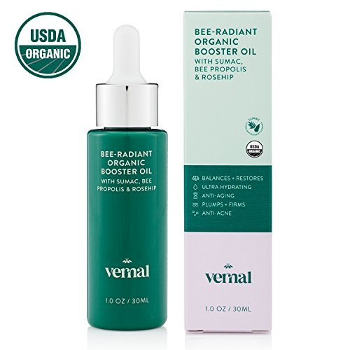 Vernal Bee-Radiant Organic Cold Pressed Face Oil - USDA Certified Organic Super Antioxidant Complex W/ Bee Propolis, Rosehip Oil & Jojoba Essential Oil. Brighten, Smooth, Anti-Aging - 1oz