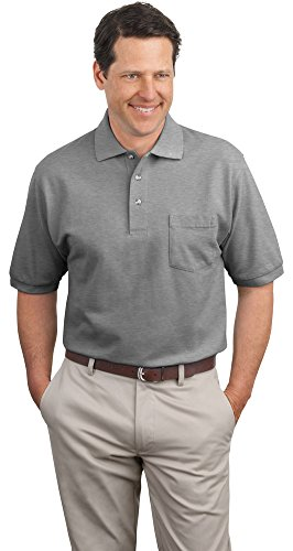 - Port Authority Pique Knit Polo with Pocket, Oxford, Large