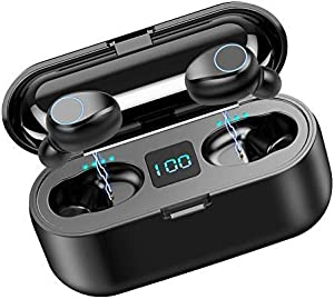 Volt Plus Tech Wireless V5.0 Bluetooth Earbuds Works for Google Pixel 5/5XL/4XL/3XL/4a/5G IPX7 Touch Waterproof/Sweatproof with Mic, 2000mAh PowerBank Charging case (Black)