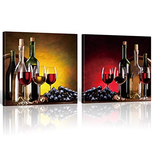 (ShuaXin Framed 2 Pieces Red Wine Cups HD Modern Abstract Giclee Canvas Prints Artwork Contemporary Vintage Pictures Paintings on Canvas Wall Art for Kitchen Home Decorations)