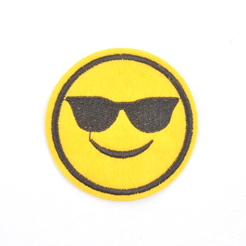 Smiley Face Emoji Iron On Patch-Sunglasses ()