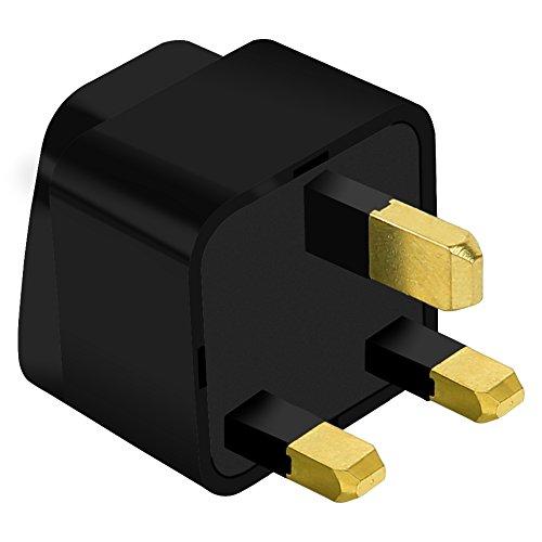 UK adapter,UROPHYLLA,Type G Copper Plug Adapter,Universal Plug Adapter for UK,Hong Kong,Arabia,Bahrain,Belize,Brunei,Cyprus - Black Malaysia Metal