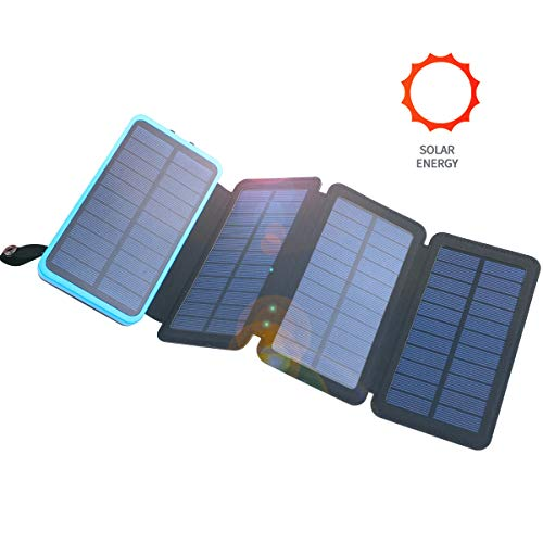 Solar Power Bank Charger 20000mAh Portable Phone Charger with 4 Foldable Solar Panels, Fast Charge External Battery Pack Waterproof Powered Charger with Dual 2.1A Output USB Compatible with iPhone