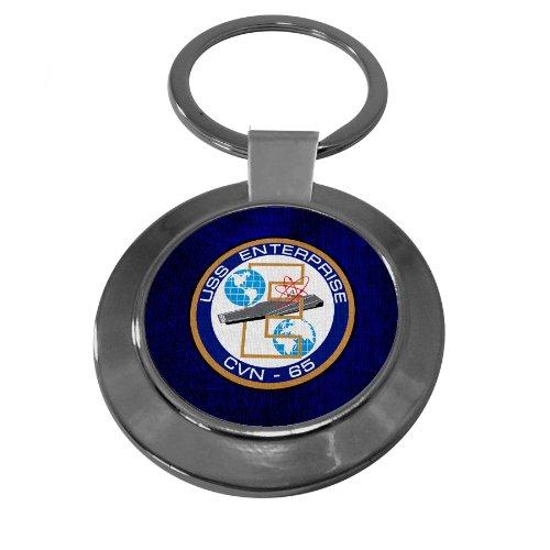 Uss Enterprise Navy - Premium Key Ring with U.S. Navy USS Enterprise (CVN-65), emblem (crest),