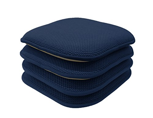 GoodGram 4 Pack Non Slip Honeycomb Premium Comfort Memory Foam Chair Pads/Cushions - Assorted Colors (Navy) (Of Chair Pads Set 4 Kitchen)