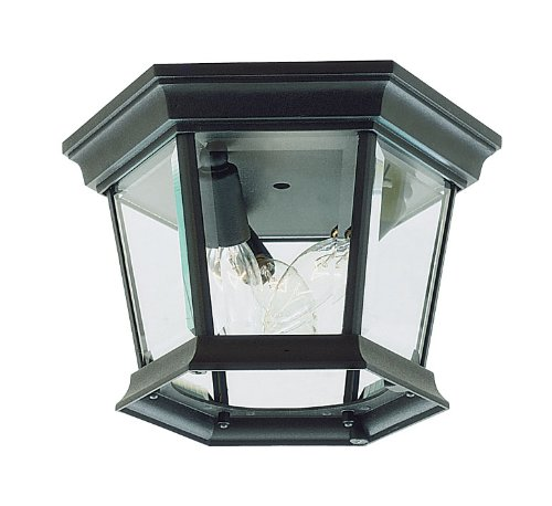 Livex Lighting 7510-04 Hamilton 3 Light Black Cast Aluminum Outdoor Flush Mount with Clear Beveled Glass