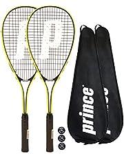 Prince 2 x Power Ti Squash Rackets + Covers + 3 Squash Balls (Various Options)