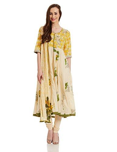 BIBA Yellow Cotton Anarkali Suit32