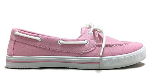Delight Canvas Lace Up Flat Slip On Boat Comfy Round Toe Sneaker Tennis Shoe Lt. Pink pRHiOBIv