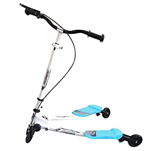 Kids Mini 3 Wheel Swing Scooter, Y Flicker Foldable Tri Slider Motion Winged Push Scooter for Boys / Girls / Children 5+ Years Old (Blue)