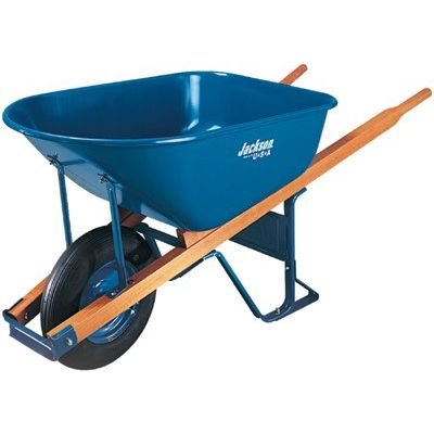 Jackson® Contractors Wheelbarrows - 5.75 cu ft poly wheelbarrow w/flat free tires