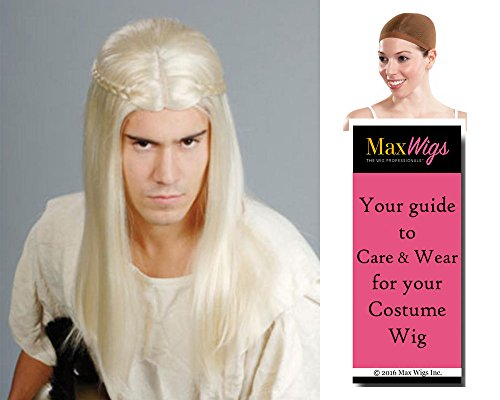 [Viking Legolas Elf Color Blonde - Enigma Wigs Men's Warrior Lord Rings Archer Bloom Bundle with Wig Cap, MaxWigs Costume Wig Care Guide] (Legolas Wig)