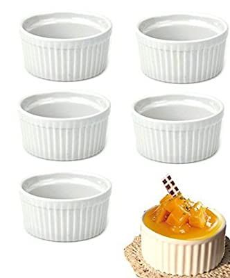 Set of 8pcs Round Porcelain Oven Safe Ramekin Dessert Souffle Baking Dish (white)