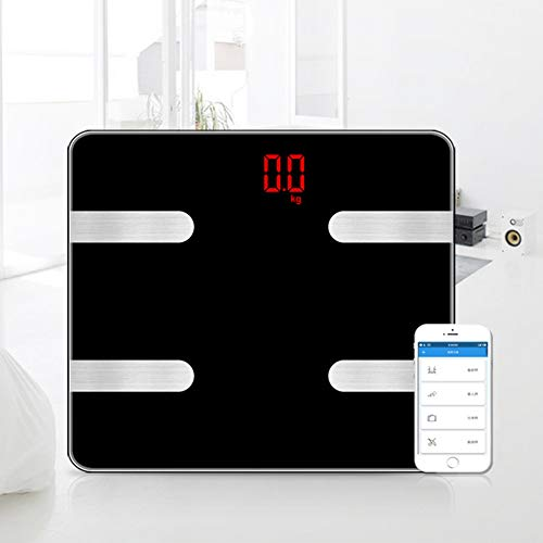 Yzpyd Wjq Human Body Weighing Body Fat Scale,180kg/100g Electrode Plate Bluetooth Scale Fat Scale Black