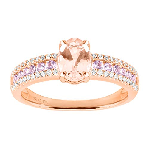 Natural Morganite & Tanzanite Ring with Diamonds in 10K Rose Gold