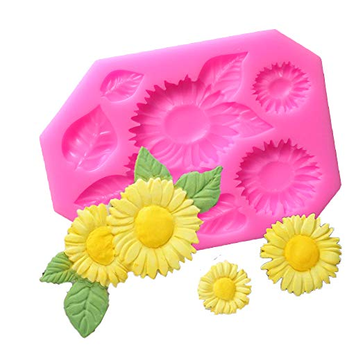 (Flower Cake Fondant Mold,Sunflower Candy Making Silicone Tray Flower Chocolate Molds DIY Cake Decoration Mold,Chocolate Sugarcraft Small Pastry Tool Accessories Molds)