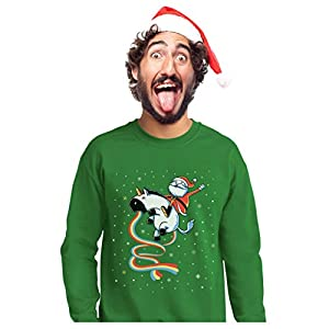 Santa Riding Vomiting Rainbow Unicorn Ugly Christmas Sweater Sweatshirt