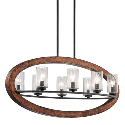 Kichler 43191AUB Grand Bank Linear Chandelier 8-Light, Auburn Stained (Cottage Stained Glass Chandelier)