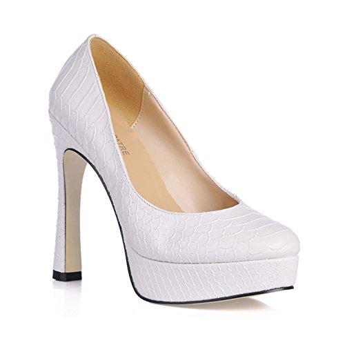 banquet haut chaussures White la blanc peau ronde serpent étanche lady's bureau le talon femmes de de tête nouvelle célibataires shoe rugueux le Les XqfUH