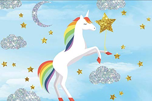 Baocicco Blue Sky White Unicorn with Rainbow Mane Backdrop 8x6ft Photography Background Silver Glittering Cloud Moon Golden Star Children Birthday Party Cake Table Decor Baby Shower