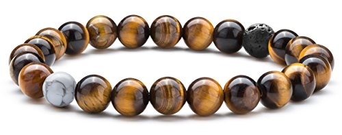 Hamoery Men Women 8mm Tiger Eye Stone Beads Bracelet Elastic Natural Stone Yoga Bracelet Bangle(Tiger Eye Stone)]()