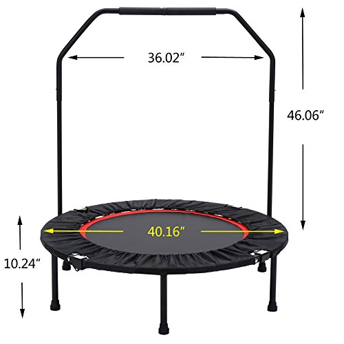 "Seatopia 40"" Fitness Trampoline with Adjustable Handrail Bungee Rope System Silent Bounce Cardio Workout Trainer – Fun for Adults & Kids, Max load 300 lbs"