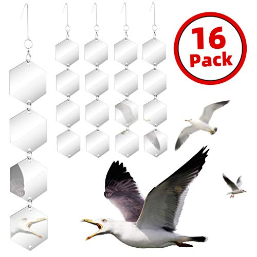 Bird Repellent Discs Set - Highly Reflective Dual Sided Bird Deterrent Discs - 16 PCS DIY Bird Hanging Reflective Discs Garden Reflectors Scare Birds Away Like Woodpeckers, Pigeons and Pest Bird