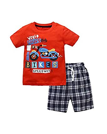 Yilaku Little Boy Clothes Tops and Shorts Sets Cartoon Short Sleeve T-Shirts Kids Summer Clothing (4-5 Years, Red)