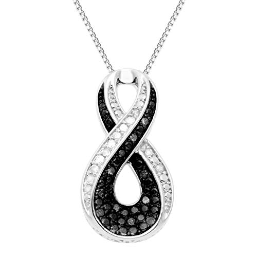 JewelExclusive Sterling Silver .25 cttw Black & White Diamond Twist Pendant
