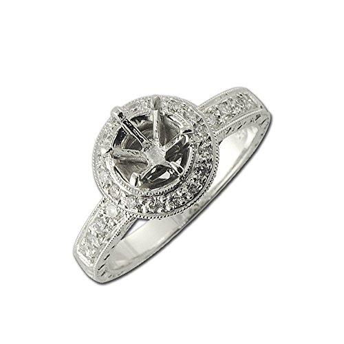 TriJewels Diamond Halo Semi Mount Ring with Milgrain Work 0.57 ct tw in 14K White Gold.size 7.0