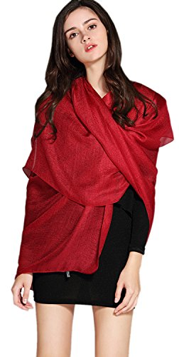 Women's Cozy Linen Solid Color Blanket Oversized Scarf Wraps Shawl Sheer Gift (Red) (Linen Sheer Silk)