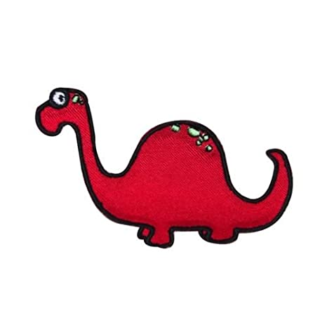 Red Brontosaurus Dinosaurio parche Cute Kids Dino Craft ...
