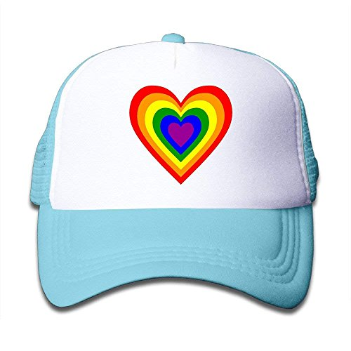 NDJHEH Gorras béisbol Rainbow Heart Adjustable Mesh Hip-Hop Baseball Caps Outdr Hip Hop Flat Hat For Kid,Toddler,Boy,Girl