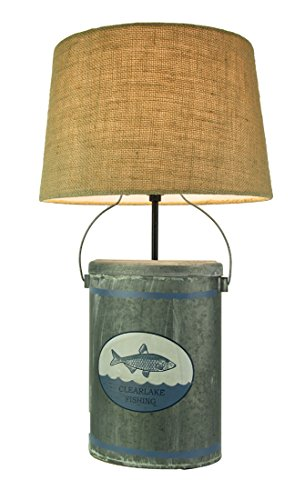 Rustic Clear Lake Fishing Tin Table Lamp with Burlap Shade