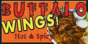 Buffalo Banner (Concession graphics -24 in x 12 in - BUFFALO WINGS - Weatherproof BANNER)