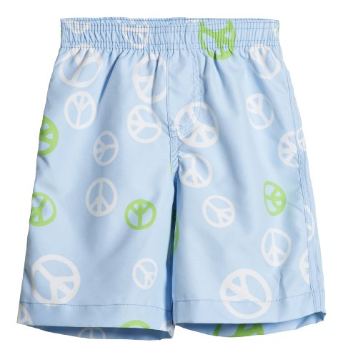 City Threads Little Boys' Solid Swimsuit Swim Trunks, Peace Signs 5