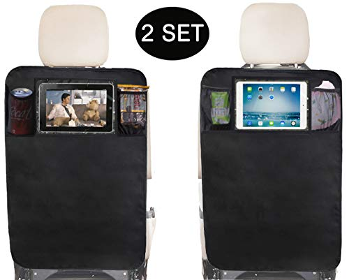 Sleeping Lamb Kick Mats Back Seat Protector with Clear IPAD Holder and Mesh Pocket,2 Packs (2 Kick Mats with Pockets) -