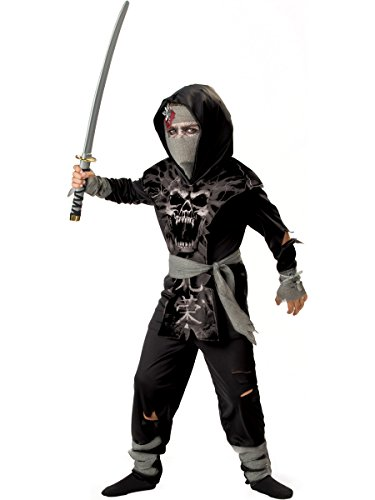 InCharacter Costumes Boys 2-7 Dark Zombie Ninja Costume, Black, Grey, Small